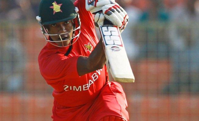 Zimbabwe\'s Vusi Sibanda plays a shot during the ICC Twenty20 Cricket World Cup match against ...