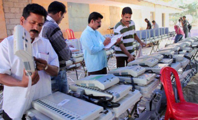 Polling officials testing the EVMs ahead of Lok Sabha elections in Kozhikode, Kerala...