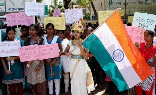 College students during a voting awareness campaign in Coimbatore on Wednesday...