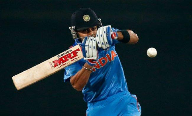 Batsman Virat Kohli plays a shot during their ICC Twenty20 Cricket World Cup warm up match...