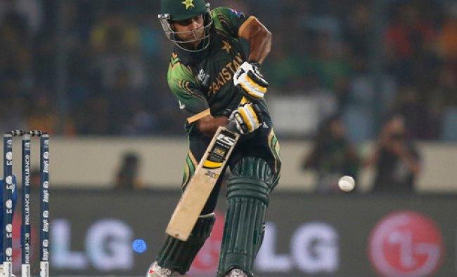 Pakistan\'s captain Mohammad Hafeez bats during their ICC Twenty20 Cricket World Cup match against...