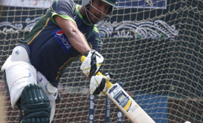 Pakistan\'s Sharjeel Khan bats in the nets during a training session ahead of their ICC Twenty20...