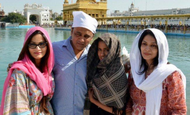 Actor Salman Khan\'s sisters Alvira Khan and Arpita Khan at the Golden Temple in Amritsar...