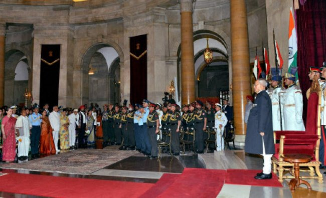 President Pranab Mukherjee and other dignitaries during...