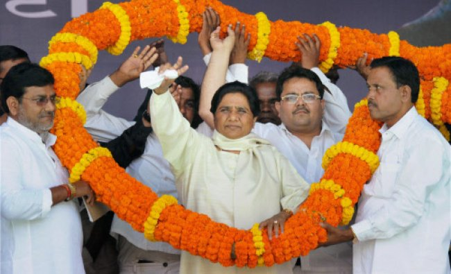 BSP Supremo Mayawati being garlanded by party workers during an election rally in Ranchi...