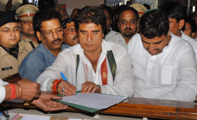 Congress candidate Raj Babbar filing his nomination papers in Ghaziabad...