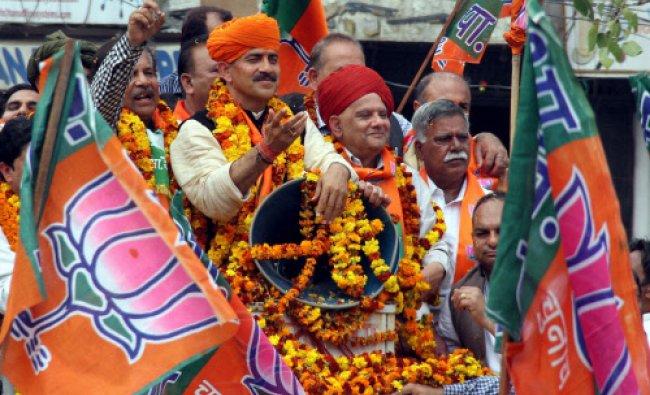 BJP\'s Lok Sabha candidate Jugal Kishore Sharma during a public gathering after Sharma...