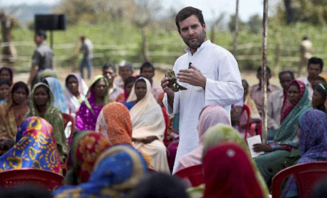 Congress Vice President Rahul Gandhi during interaction with a group of women...