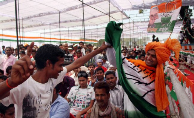 Supporters at Congress Vice President Rahul Gandhi\'s election rally in Pratapgarh...