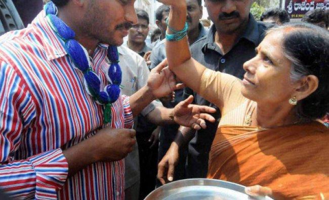 YSR Congress President YS Jaganmohan Reddy during his election campaign in Rajahmundry...