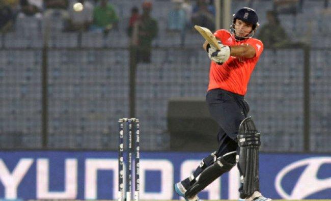 England\'s Michael Lumb bats during an ICC Twenty20 Cricket World Cup match against New Zealand...