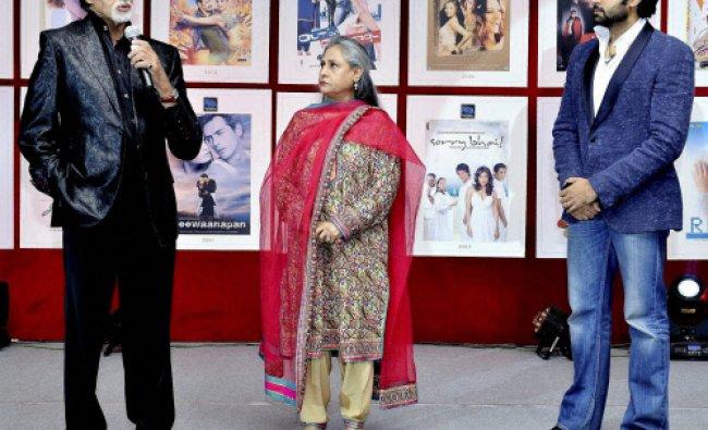 Bollywood Actors Amitabh Bachchan, Jaya Bachchan and Abhishek Bachchan during the 25th movie...