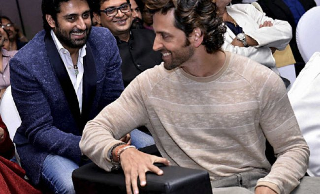 Bollywood actor Abhishek Bachchan and Hrithik Roshan during the 25th movie celebration of film...