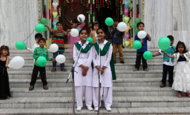 School Children performing during the celebration of 74th Pakistan Day in New Delhi on Sunday...