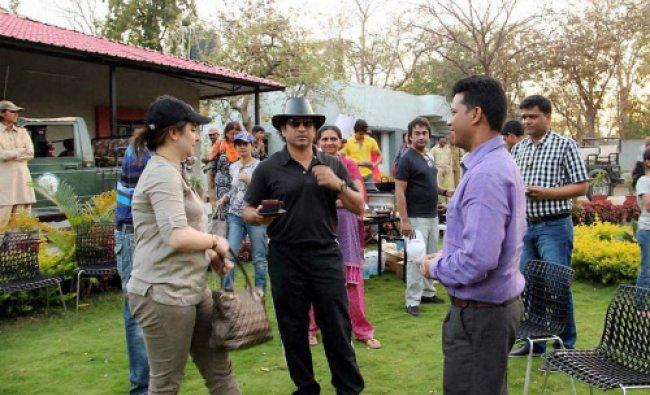 Legendary cricketer Sachin Tendulkar along with Sandeep kumar, deputy conservator of Gir...