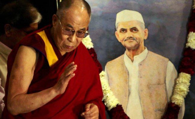 Tibetan spiritual leader the Dalai Lama at the release of the book \'Lal Bahadur Shastri...