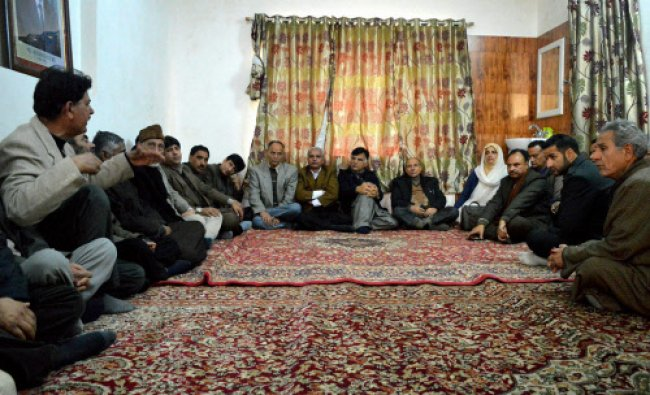 Jammu and Kashmir National Conference candidate, Mehboob Beig during an election meeting...