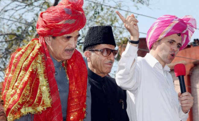 Union minister and Congress candidate Ghulam Nabi Azad with Jammu and Kashmir Chief Minister...