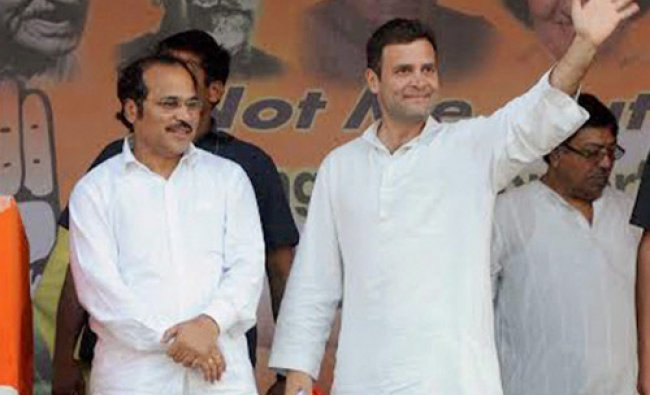 Congress Vice President Rahul Gandhi and West Bengal Pradesh Congress President Adhir Chowdhury...