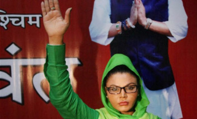Bollywood item girl Rakhi Sawant at a press conference in Mumbai on Wednesday. She will contest...