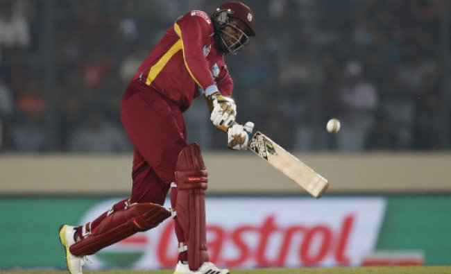 West Indies\' batsman Chris Gayle plays a shot during their ICC Twenty20 ...