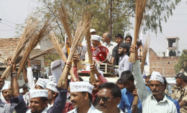 AAP convener Arvind Kejriwal during his road show in Varanasi...