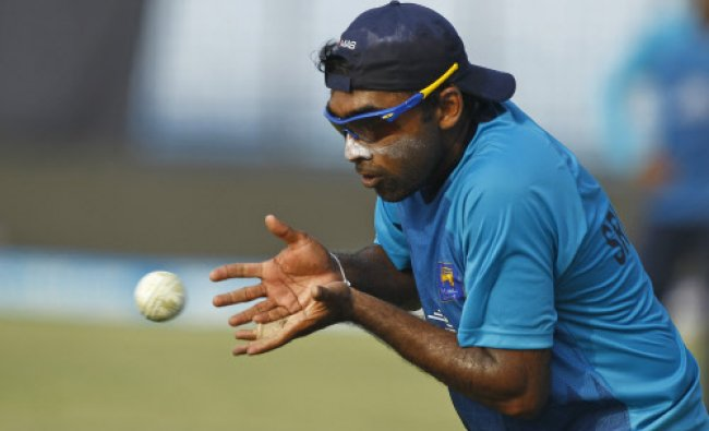 Sri Lanka\'s Mahela Jayawardene catches the ball during a training session ahead of their ICC...