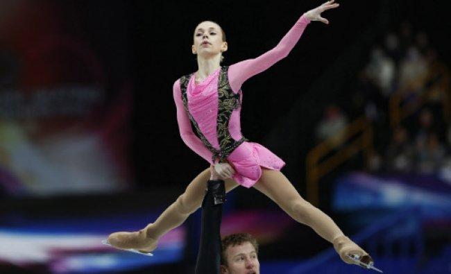 Russia\'s Julia Antipova and Nodari Maisuradze compete during the pairs free skating program ...