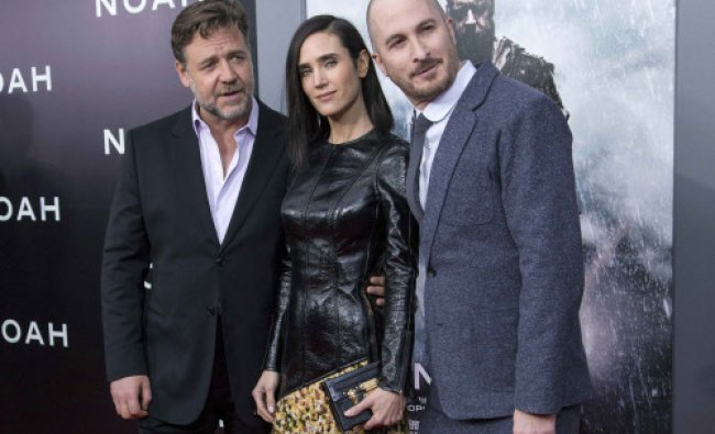 Crowe and Connelly pose with director Aronofsky during the U.S. premiere of \'Noah\' ...