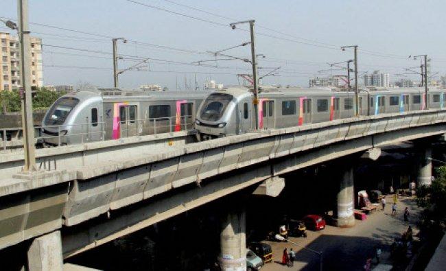 Mumbai Metro trains during a trial run at Versova-Andheri-Ghatkopar in Mumbai...
