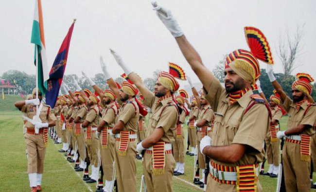 Newly recruited Punjab police jawans take oath during their passing out parade...