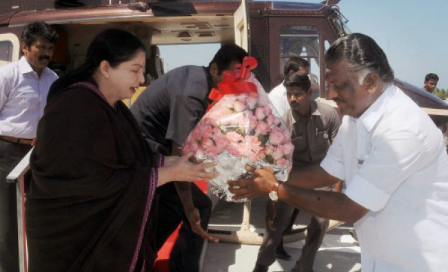 Tamil Nadu Chief Minister and AIADMK Supremo J Jayalalithaa being welcomed by Finance...