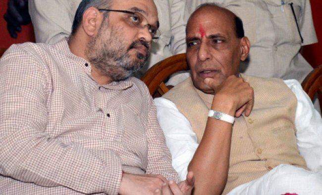 BJP President Rajnath Singh and party\'s UP incharge Amit Shah at a programme in Lucknow...
