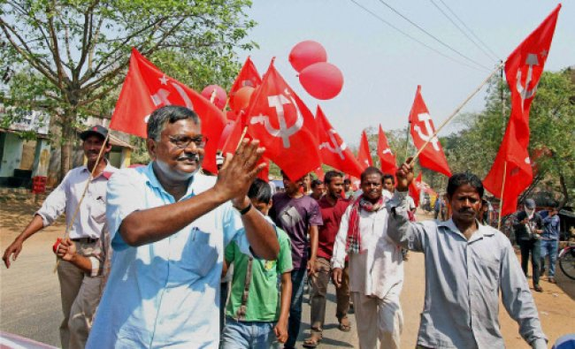 CPI(M) candidate Ramchandra Dom during an election campaign rally at Supur village...