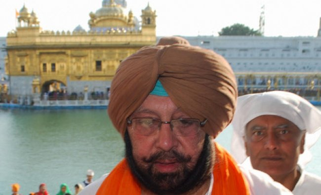 Former Punjab CM and Congress candidate from Amritsar Capt. Amrinder Singh pays obeisance...
