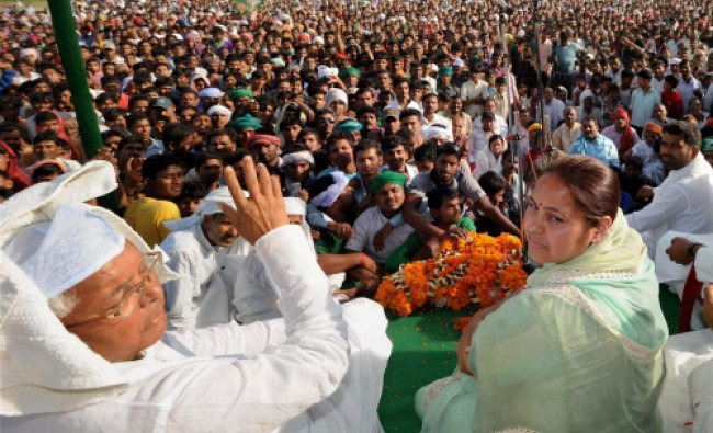 RJD chief Lalu Prasad with his daughter and party\'s Lok Sabha candidate for Patliputra, Misa...