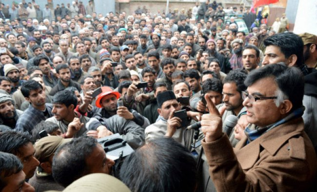 National Conference candidate Mehbooba Beigh addressing an election campaign...