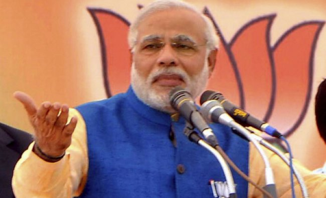 BJP\'s prime ministerial candidate Narendra Modi\'s gestures during an election campaign rally...