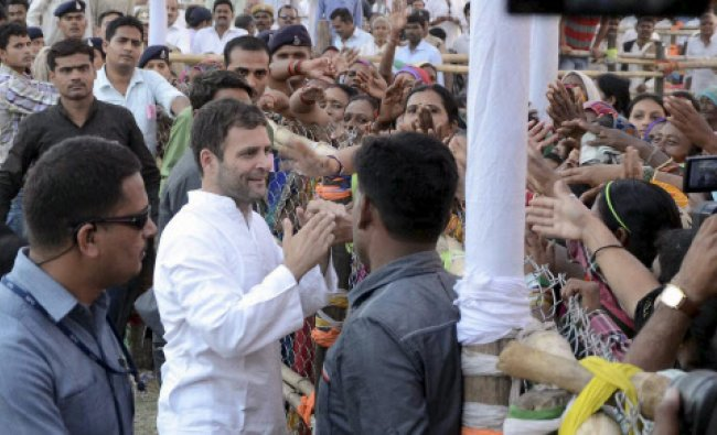 Congress Vice President Rahul Gandhi meets people during an election campaign meeting for Lok...