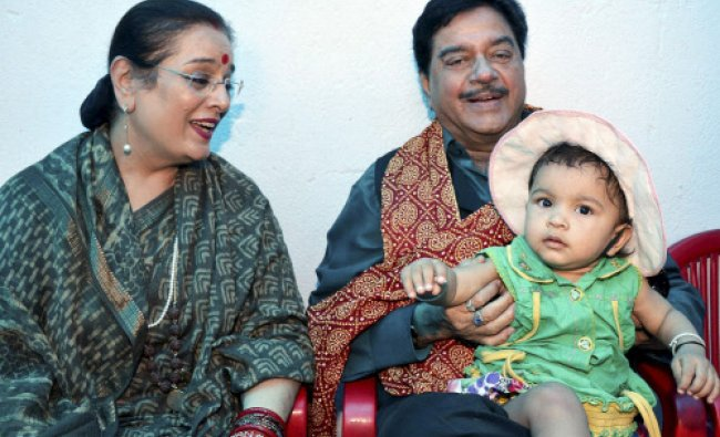 BJP Lok Sabha candidate from Patna Sahib seat Shatrughan Sinha with his wife during election...