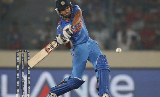 Rohit Sharma plays a shot during their ICC Twenty20 Cricket World Cup match against Bangladesh...