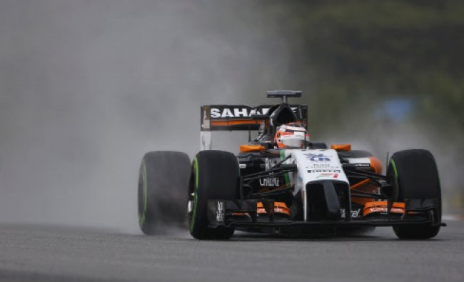 Force India Formula One driver Nico Hulkenberg of Germany drives during the qualifying session...
