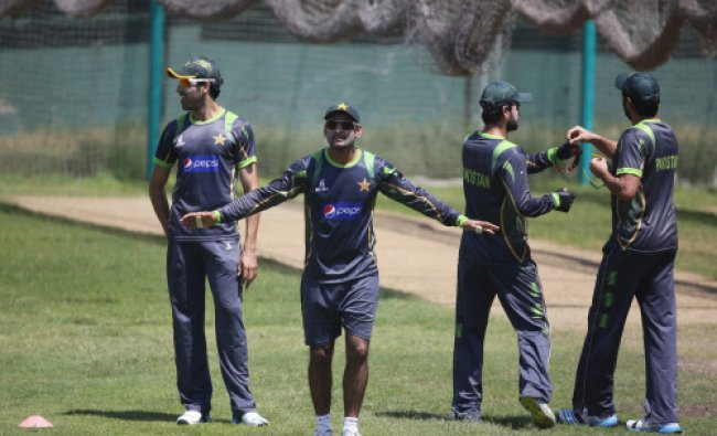 Pakistani captain Mohammad Hafeez, gestures to his teammates during a training session ahead...
