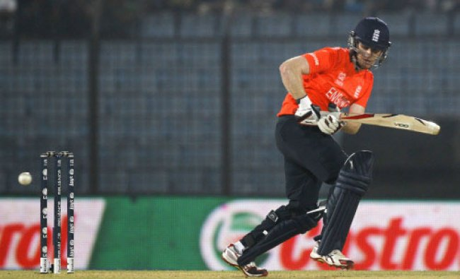 England\'s Eoin Morgan plays a shot during their ICC Twenty20 Cricket World Cup match ...