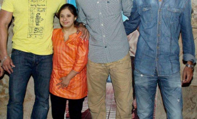 Bollywood actors Salman Khan and Ritesh Deshmukh with Marathi actor Gauri Gadgil and Marathi...