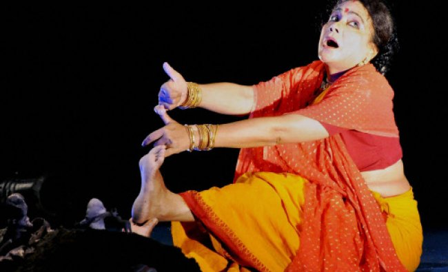 Film and theatre actress Seema Biswas performs a play of Bezbaruah during National Drama Festival...