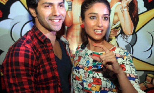 Bollywood actors Varun Dhawan, Ileana D\'Cruz, pose for photographs during promotion of ...