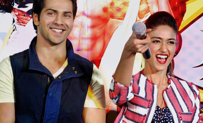 Varun Dhawan along with actress Ileana D\'Cruz during the promotional event for \'Mein Tera Hero\' ...
