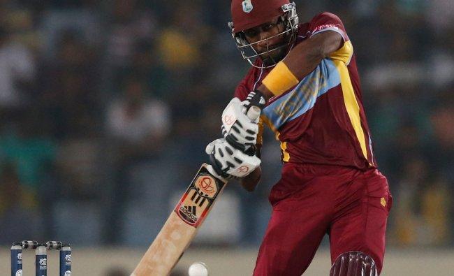 West Indies\' batsman Dwayne Bravo plays a shot against Srilanka ...