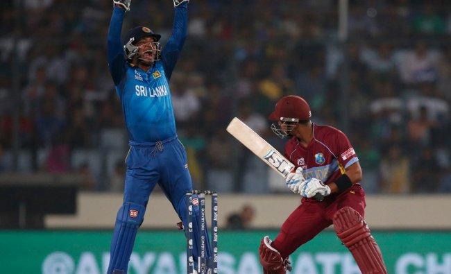Kumar Sangakkara appeals successfully for the wicket of West Indies\' batsman Lendl Simmons ...